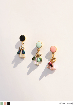 [JEWELRY] COLOR STONE & TASSLE EARRING