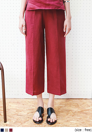 [BOTTOM] SET TWO LINE LINEN PANTS
