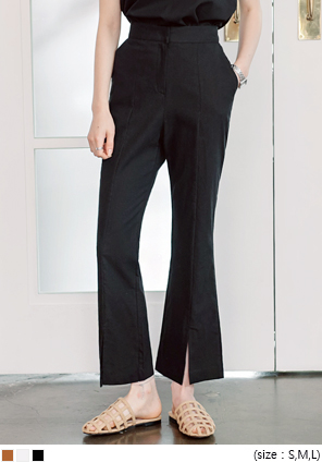 [BOTTOM] LINEN SLIT BOOTS CUT SLACKS