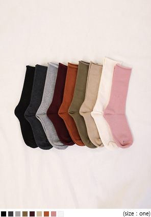 [ACC] 9 COLOR ROLL COTTON SOCKS