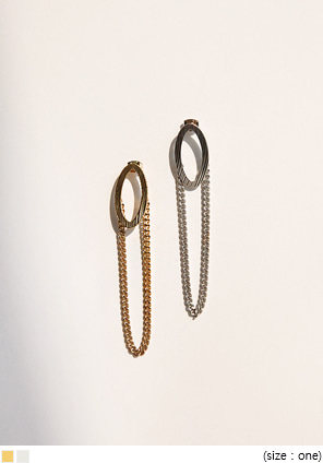 [JEWELRY] CIRCLE CHAIN DROP EARRING
