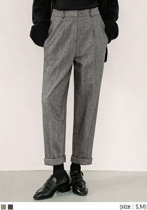 [BOTTOM] WOOL HERRINGBONE BAGGY SLACKS