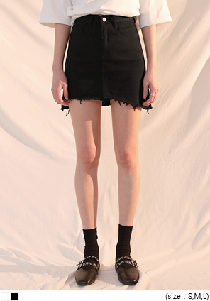 [SKIRT] COTTON UNBAL CUTTING MINI SKIRT