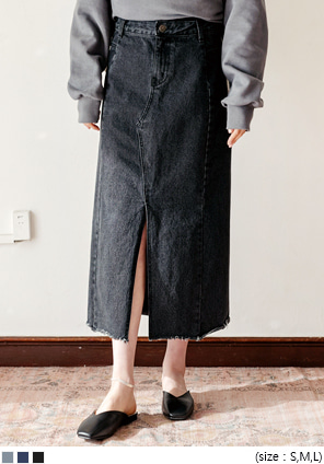 [SKIRT] SLIT WASHING DENIM LONG SKIRT