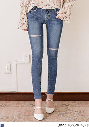 [BOTTOM] DOUBLE CUTTING DENIM SKINNY