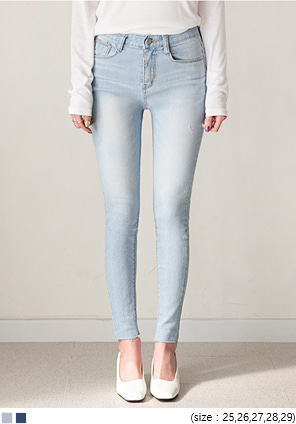 [BOTTOM] LIGHT WASHING DENIM SKINNY