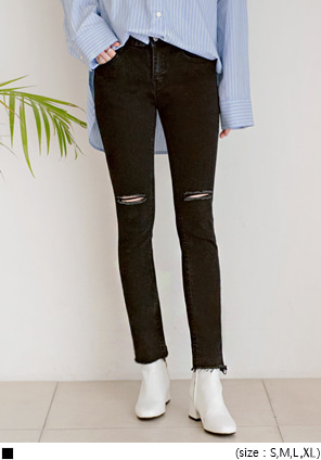 [BOTTOM] TRENDY DAMAGE CUTTING SKINNY