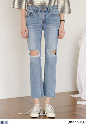 [BOTTOM] WIDEN DAMAGE DENIM PANTS