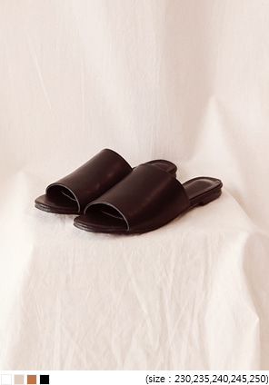 [SHOES] WIDE STRAP LEATHER SLIPPER