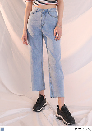 [BOTTOM] LIGHT HIGH CROP DENIM PANTS