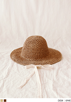 [ACC] STRAW LACE STRAP FLOPPY HAT