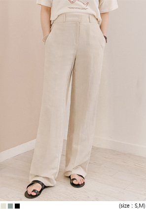 [BOTTOM] LINEN SEMI WIDE BANDING SLACKS