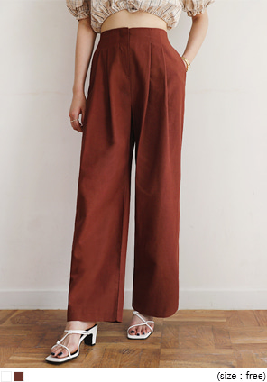[BOTTOM] SOLID WIDE BANDING PANTS