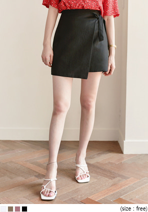 [SKIRT] LINEN RIBBON WRAP MINI SKIRT