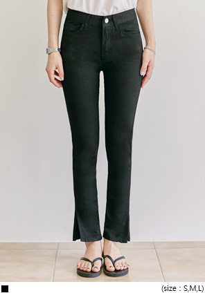 [BOTTOM] JELLY TENSION SLIT COTTON PANTS