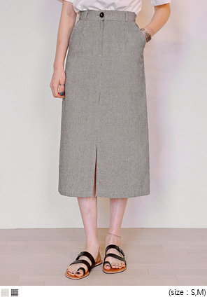 [SKIRT] LINEN HOUND CHECK LONG SKIRT