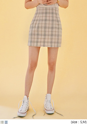 [SKIRT] LINEN TATTERSALL CHECK MINI SKIRT