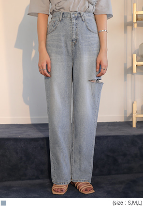 [BOTTOM] SIDE CUTTING WIDE DENIM PANTS