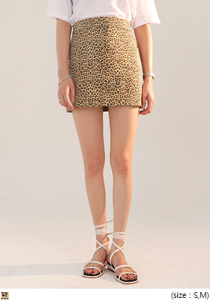[SKIRT] LEOPARD H LINE MINI SKIRT