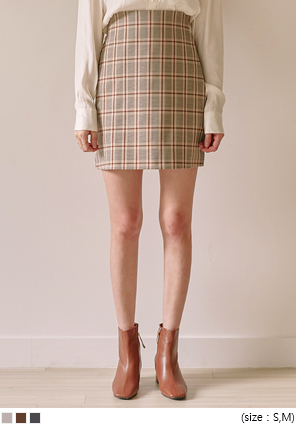 [SKIRT] DARK CHECK H LINE MINI SKIRT