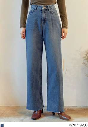 [BOTTOM] COBALT WIDE LONG DENIM PANTS