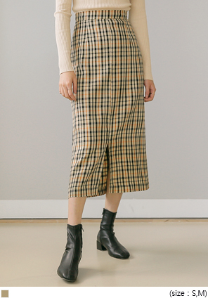 [SKIRT] MAPLE CHECK SLIT LONG SKIRT