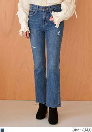 [BOTTOM] TEAR SLIM BOOTS CUT DENIM PANTS