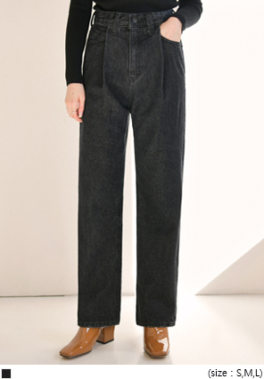 [BOTTOM] BIGI PINTUCK BLACK DENIM PANTS