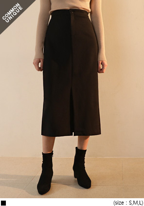 [SKIRT] BLACK NAPPING SLIT LONG SKIRT