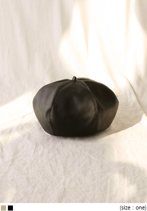 [ACC] POINT LEATHER BERET