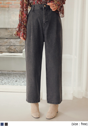 [BOTTOM] NAPPING PINTUCK DENIM PANTS