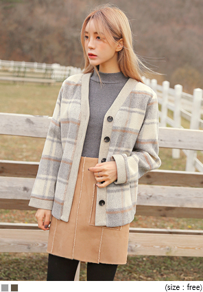 [OUTER] TOY WOOL CHECK CARDIGAN