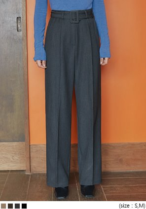 [BOTTOM] LOFT PINTUCK BELT SET SLACKS