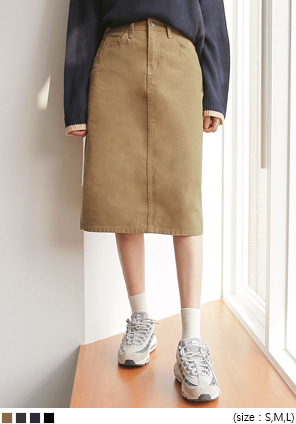 [SKIRT] GRAND BACK SLIT COTTON MIDI SKIRT