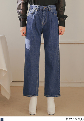 [BOTTOM] OIL NAPPING PINTUCK DENIM PANTS
