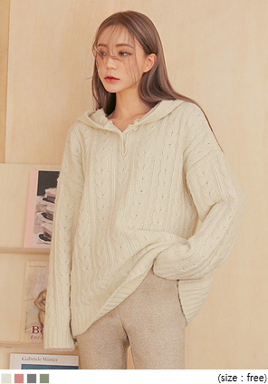[TOP] ANGEL WOOL TWIST HOOD KNIT