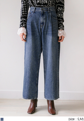 [BOTTOM] CORN PINTUCK WIDE DENIM PANTS