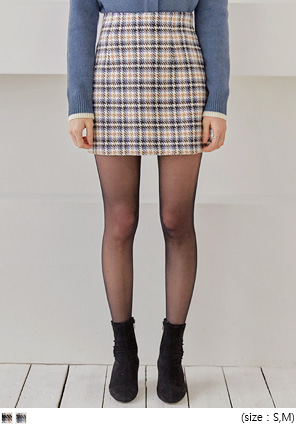 [SKIRT] PORIN WOOL HOUND CHECK MINI SKIRT