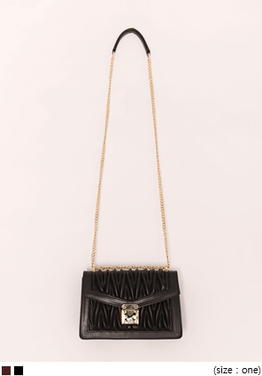 [BAG] VOLUME GOLD CHAIN LEATHER BAG