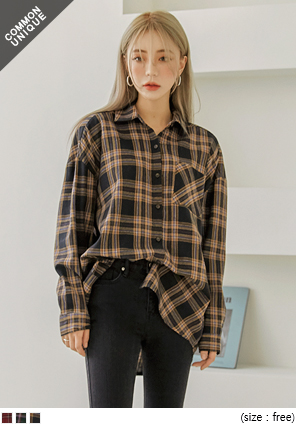 [TOP] DEEP COLOR CHECK BOXY SHIRTS