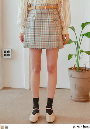 [SKIRT] WANT CHECK BELT SET PANTS SKIRT