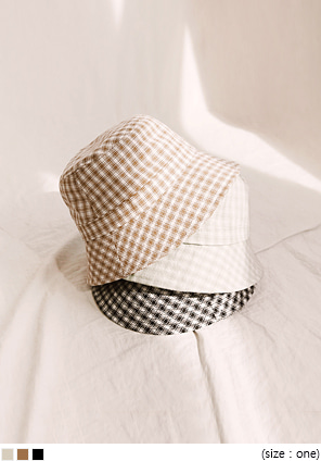 [ACC] PLUCKY CHECK BUCKET HAT
