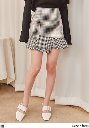 [SKIRT] MAIT GINGHAM CHECK FRILL MINI SKIRT