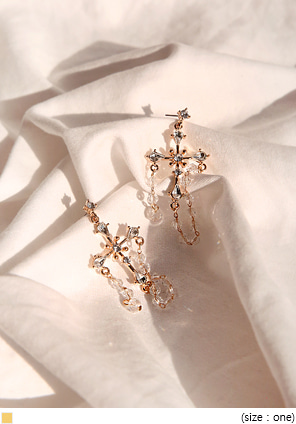 [JEWELRY] GOLD CROSS DROP EARRING