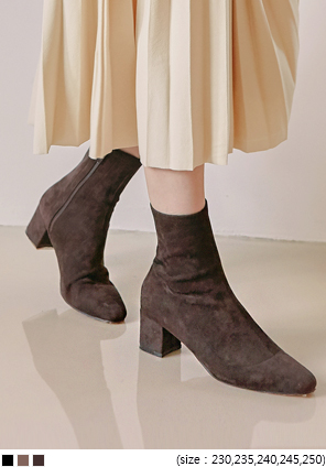 [SHOES] ROSE SUEDE SLIM ANKLE BOOTS