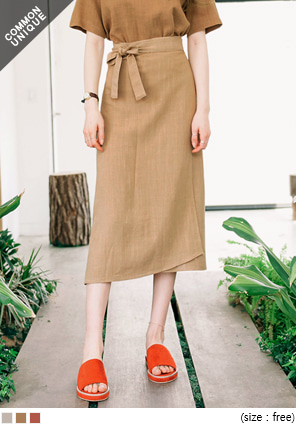 [SKIRT] PURIA LINEN STRAP WRAP SKIRT