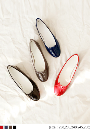 [SHOES] ENAMEL RIBBON FLAT SHOES