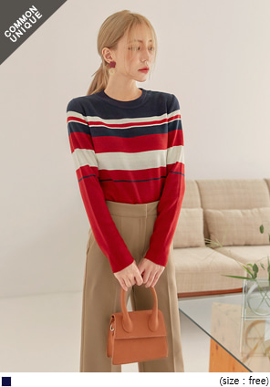 [TOP] CHEERFUL COLOR STRIPE KNIT