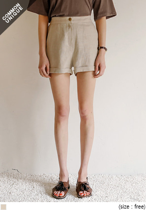 [BOTTOM] MELORD LINEN SET-UP SHORTS