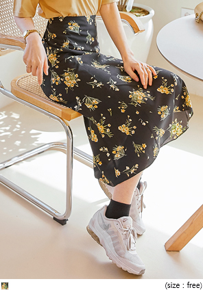 [SKIRT] BARONY FLOWER FLARE LONG SKIRT